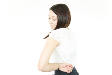 Woman of the low back pain photo