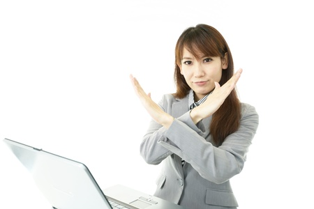 The female office worker who does PC work Stock Photo - 15871419