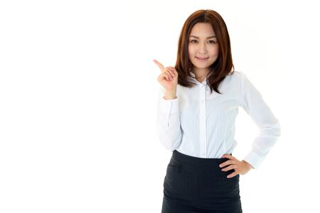 The female office worker who points her finger photo