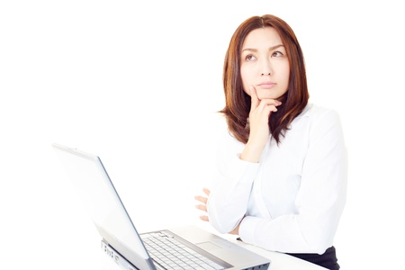 The female office worker who thinks about something in front of a PC Stock Photo - 14879725