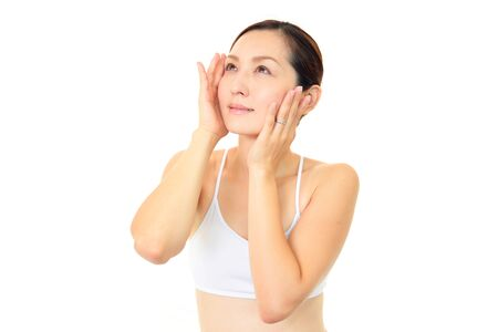 The woman who have made skin care photo