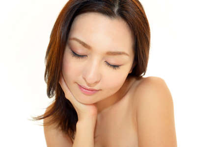 decolletage: The woman who makes skin care Stock Photo