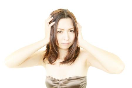 Woman uneasy look  写真素材