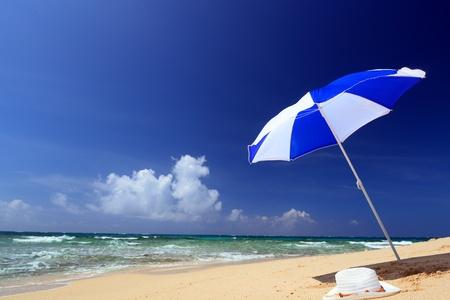 beach umbrella: The beach and the beach umbrella of midsummer