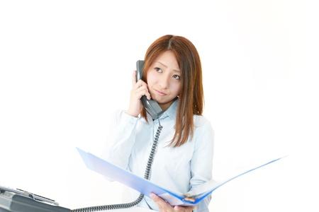 通信: ビジネスの女性を強調しました。