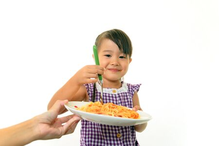 child having spaghetti Stock Photo - 15423939