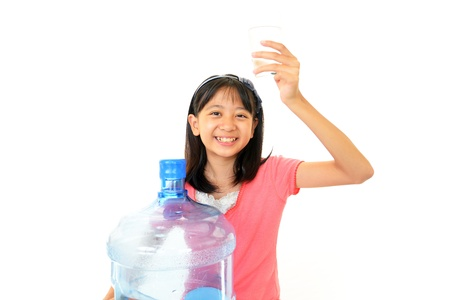 non alcoholic beverage: Girl with a container of water Stock Photo