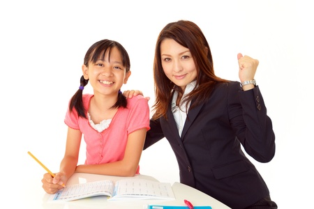 tutor: Chicas dispuestas a pasar el examen Foto de archivo