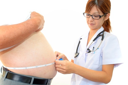 Woman doctor with a medical examination in obese patients