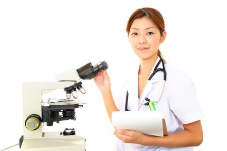 microscopy: Doctor with a microscopic examination