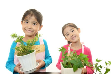 schoolroom: The girls who takes care of the plant