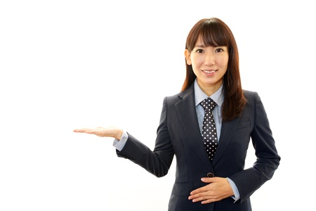 office scene: Smiling business woman