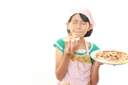 The girl who eats a pizza