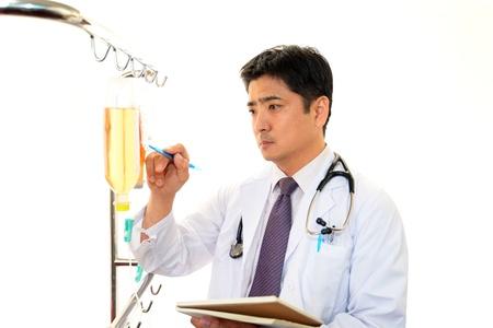 enteritis: The doctor who checks intravenous feeding