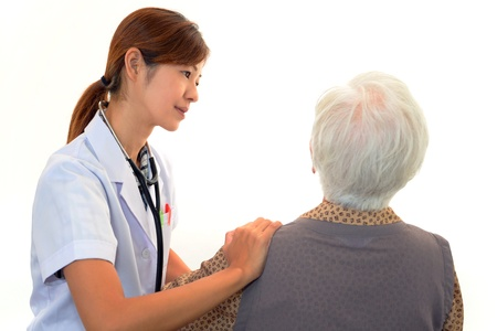 Old wonan and the medical staff of smile Stock Photo - 16989559