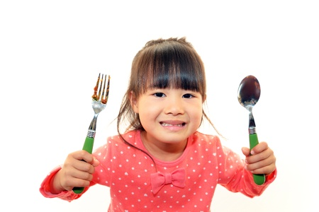 mealtime: Child eating spaghetti Stock Photo