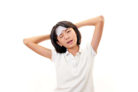 tightness: Girl with a bad cold Stock Photo