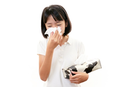 clean lungs: Girl with a bad cold Stock Photo