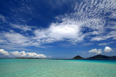 The cobalt blue sea and blue sky of Okinawa  photo