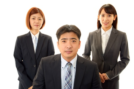 The male office worker who poses happily photo