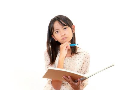 A teenage girl uneasy look Stock Photo
