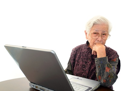 frailty: Senior woman with a notebook Stock Photo