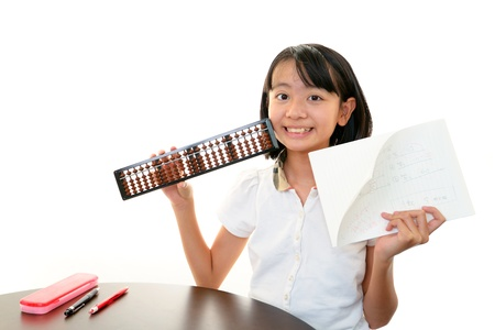 an abacus: Child Studying Stock Photo