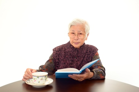 relaxes: The elderly woman who relaxes