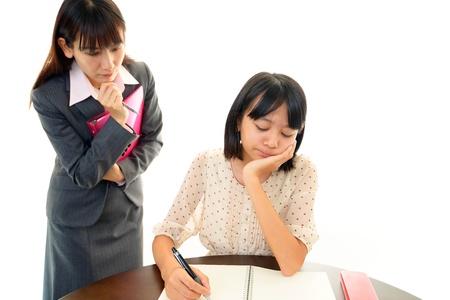 uneasy: Girls look uneasy Stock Photo