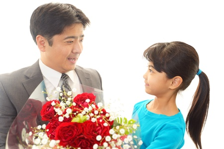 The girl who gives a present to father