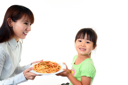 child having spaghetti Stock Photo - 18615947