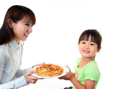 child having spaghetti Stock Photo - 18615947