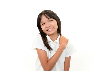 A teenage girl uneasy look 版權商用圖片