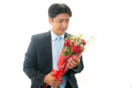 The man who is pleased with a present Stock Photo - 18780682