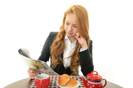 De vrouw die eet Stockfoto