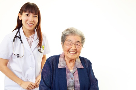 frailty: Old wonan and the medical staff of smile