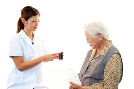 Pharmacist with a patient photo