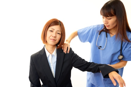 Orthopedic surgeon with a medical examination photo