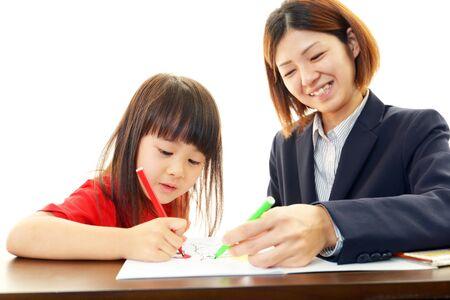 self study: The girl who enjoys study Stock Photo