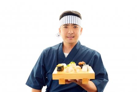 Portrait of a sushi chef Foto de archivo