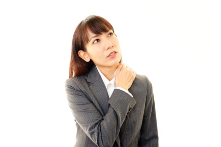 Tired and stressed young asian woman Stock Photo - 19532044