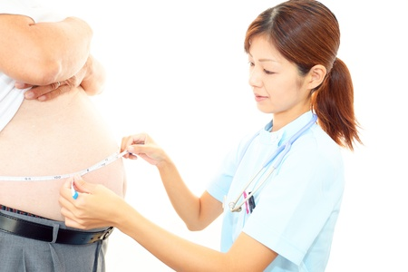 Nurse with an examination of obese patients photo