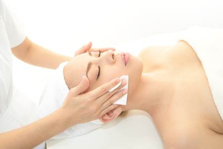 Beautiful young woman getting a spa treatment Stock Photo