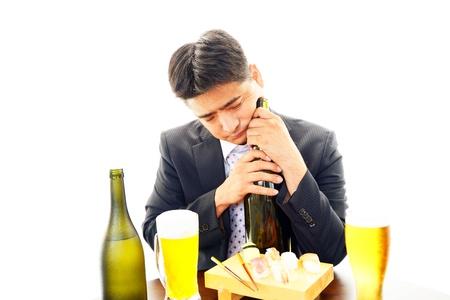 drank: The businessman who drank liquor too much Stock Photo