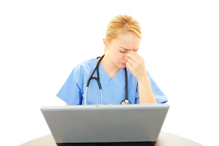 tiring: Woman doctor of a tiring state