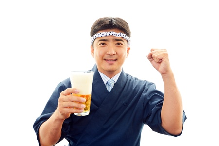 Japanese chef with a beer photo