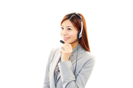 Woman with a handset Stock Photo - 19904708