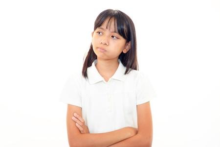 A teenage girl uneasy look photo
