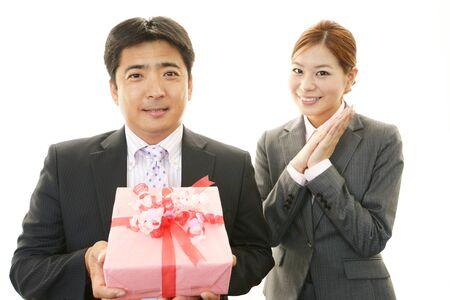 Smiling businessman and businesswomen photo