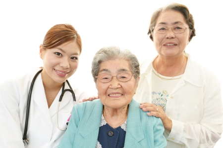 Asian medical doctor and senior woman